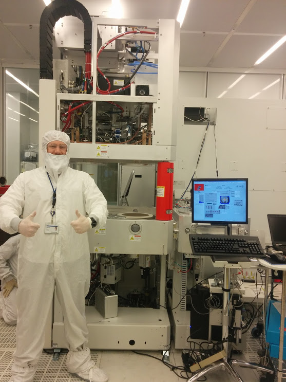 Bunny-suited in a clean room lab at Lam Research Corp.